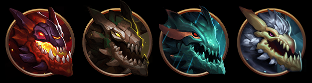 Elemental dragon icons available in League of Legends.