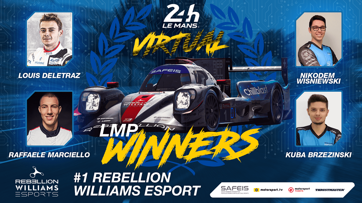 24 horas virtuales Le Mans gana Marciello de Rebelión - Williams Esports